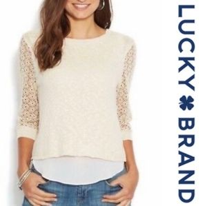 Lucky Brand Cinema Sweater with Lace Sleev…